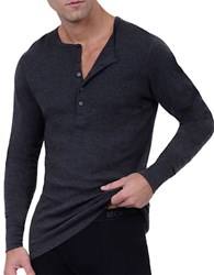 2Xist Essential Cotton Henley Shirt Charcoal