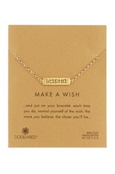 Dogeared Make A Wish 14K Gold Plated Sterling Silver Karma Plaque Bracelet Metallic