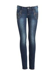Aftershock Faronda Dark Wash Embellished Jeans Indigo