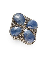 Bavna 1.85 Tcw Champagne Pave Diamond Blue Sapphire And Sterling Silver Ring