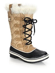 Sorel Tofino Cate Faux Fur Trimmed Lace Up Boots Curry