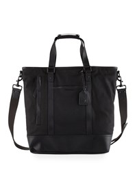 Cole Haan Leather Trim Canvas Tote Bag Black