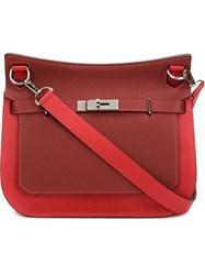 Hermes Vintage 'Clemence Jypsiere' Crossbody Bag Red