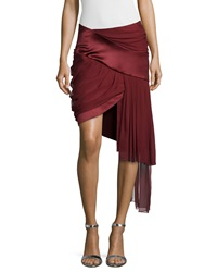 Prabal Gurung Draped Mini Skirt W Asymmetric Hem Wine