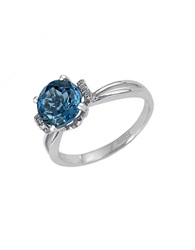 Effy London Blue Topaz Ring With Diamond Accent Blue Topaz White Gold