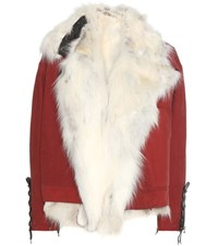 Anthony Vaccarello Fur Lined Parka Red