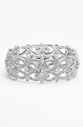 Nadri 'Celtic Knot' Crystal Bangle Silver Clear