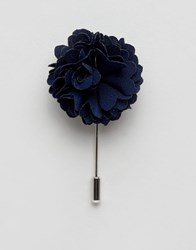Noose And Monkey Flower Lapel Pin In Navy Navy Blue