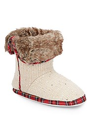 Isaac Mizrahi Faux Fur Accented Knit Boots White