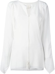 Chloe Split Neck Blouse White