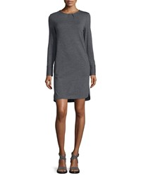 Brunello Cucinelli Long Sleeve Pleated Neck T Shirt Dress Gray