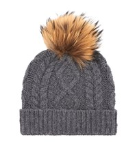 Max Mara Maxmara Weekend Stemma Cable Knit Fur Bobble Hat Female Dark Grey