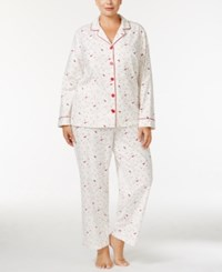 Charter Club Plus Size Printed Flannel Pajama Set Only At Macy's Ivory Cardinal