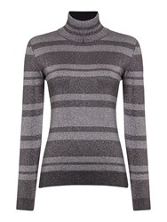 Sportmax Crotone Long Sleeve Metallic Striped Polo Neck Silver
