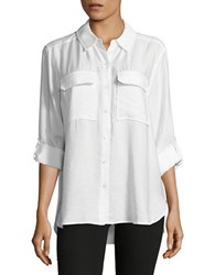 Vince Camuto Button Front Utility Shirt New Ivory