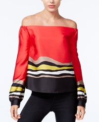 Rachel Roy Striped Off The Shoulder Top Only At Macy's Lipstick Combo