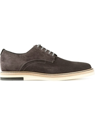 Fendi Contrast Sole Derby Shoes Grey