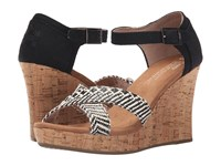Toms Strappy Wedge Black Woven Cork Women's Wedge Shoes