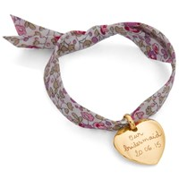 Merci Maman 18Ct Gold Plated Personalised Heart Liberty Bracelet Gold Pink