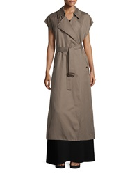Helmut Lang Long Cotton Blend Trench Vest Army Green