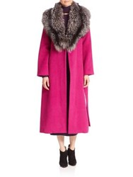 Tanya Taylor Fox Fur Collar Wrap Coat Fuchsia