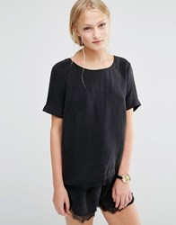 Just Female Quil Lace Trim T Shirt Black