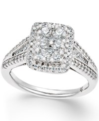 Macy's Diamond Square Cluster Engagement Ring 1 Ct. T.W. In 14K White Gold