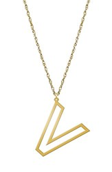 Women's Jane Basch Designs Varsity Initial Pendant Necklace Gold V
