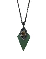 Zt Aventurine And Tigers Eye Long Chain Pendant
