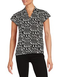 Nipon Boutique Chevron Weave Top Black White