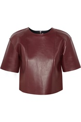 Alexander Wang Cropped Leather Top Red