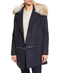 Veronica Beard Antares Convertible Double Breasted Coat Navy