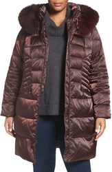 1 Madison Plus Size Women's Down And Feather Fill Coat With Genuine Fox Fur Trim Pinot