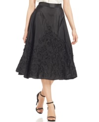 Marina Embroidered A Line Midi Skirt Black