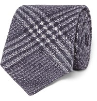 Brunello Cucinelli Checked Wool And Silk Blend Tie Blue