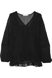 Chelsea Flower Hailey Lace Embellished Chiffon Top Black