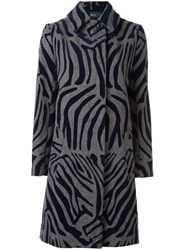 Kolor Zebra Print Coat Blue