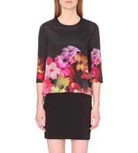 Ted Baker Floral Print Layered Tunic Black