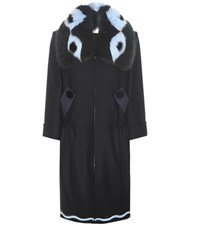Fendi Fur Trimmed Wool And Cashmere Coat Blue
