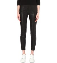 French Connection Atlantic Faux Leather Cropped Trousers Black