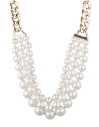 Anne Klein Multi Row Faux Pearl Necklace Gold