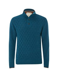 White Stuff Men's Gossan Texture Funnel Knit Teal