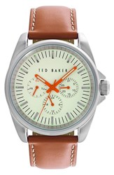 Men's Ted Baker London Leather Strap Watch 42Mm Brown Ivory