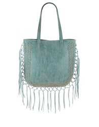Steve Madden Shay Fringed Faux Leather Tote Blue