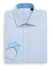 English Laundry Regular Fit Graphic Check Cotton Dress Shirt Blue