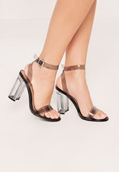 Missguided Black Perspex Block Heel Barely There Sandals