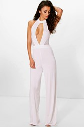 Boohoo Ana Mesh Cut Out Jumpsuit Ivory