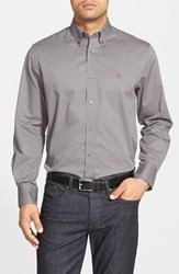 Men's Big And Tall Nordstrom Smartcare Traditional Fit Twill Boat Shirt Grey Shade