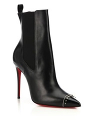 Christian Louboutin Banjo Spiked Cap Toe Leather Booties Black Silver