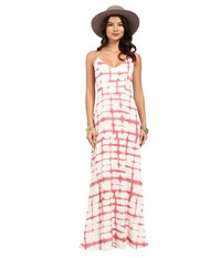 Bb Dakota Finnley Pink Plaid Printed Heavy Rayon Maxi Dress Dirty White Women's Dress Multi